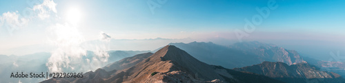 Panoramic view of Taurus Mountain at sunset from the top of Tahtali Mountain near Kemer, Antalya, Turkey
