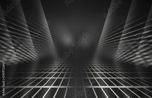 Fototapety, obrazy: Empty background scene. Dark reflection of the street on wet asphalt. Rays of neon light in the dark, smoke. Background of an empty stage show. Abstract dark background.
