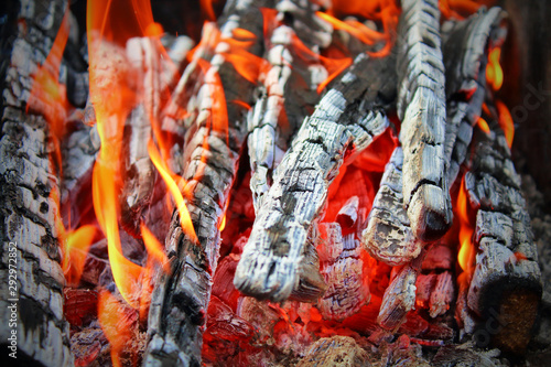 Firewood burning in the grill. Close-up. Background. Texture.