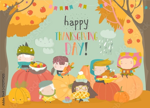 Cartoon children harvesting in autumn garden. Happy Thanksgiving Day