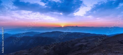 Fototapety, obrazy: Beautiful sunset over Taurus Mountains from the top of Tahtali Mountain near Kemer, Antalya, Turkey