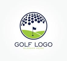 Golf Flag Tournament Logo Template