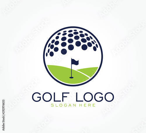 Obraz na plátne golf flag tournament logo template