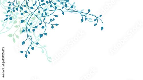 Fotografía Leaves and ivy vine design element in blue on white background, corner border de