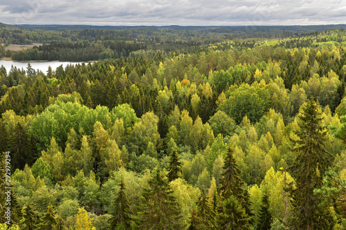 Recess Fitting Northern Europe Aulanko forest park, Hameenlinna, Finland. View from Aulangonvuori Hill. Endless forests