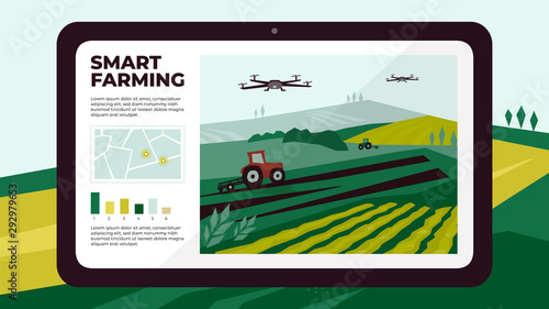 Fototapeta Illustration of  smart farm with drone control by tablet. Innovation technology for agricultural company. Automation farming with remote controllable tractors. Template for web, print, flyer, report. obraz