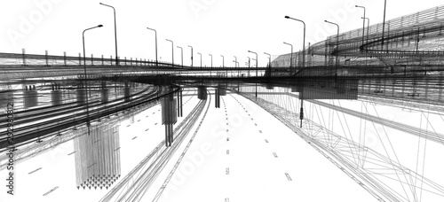 The BIM model of the object of transport infrastructure of wireframe view Canvas Print