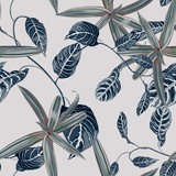 Tropic summer painting seamless pattern with exotic blue liana branch and exotic palm leaves and exotic plants. Trendy exotic flower wallpaper on white background.