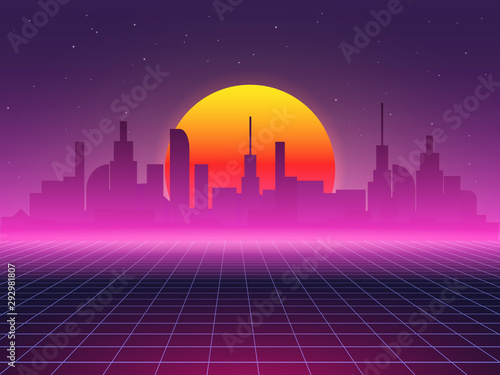 Poster Violet Futuristic vector background of city landscape. Sci-fi 80 s abstract illustration