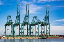 Port Of Antwerp,Belgium-9june-2019: Cranes In Deurganckdock