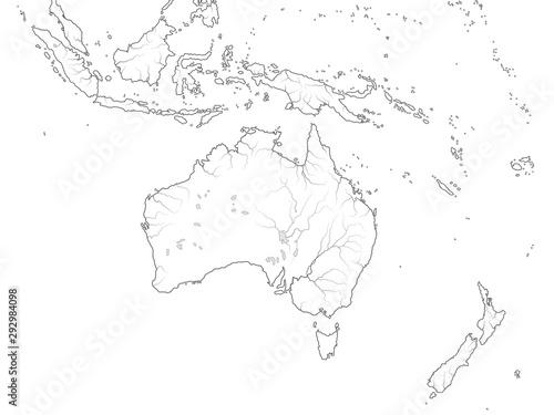 Photo World Map of AUSTRALASIA REGION: Australia, New Guinea, New Zealand, Oceania, Indonesia, Polynesia, Pacific Ocean