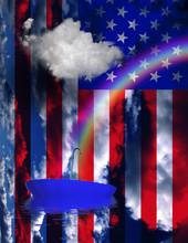 Rainbow And Floating Umbrella On USA Flag Background