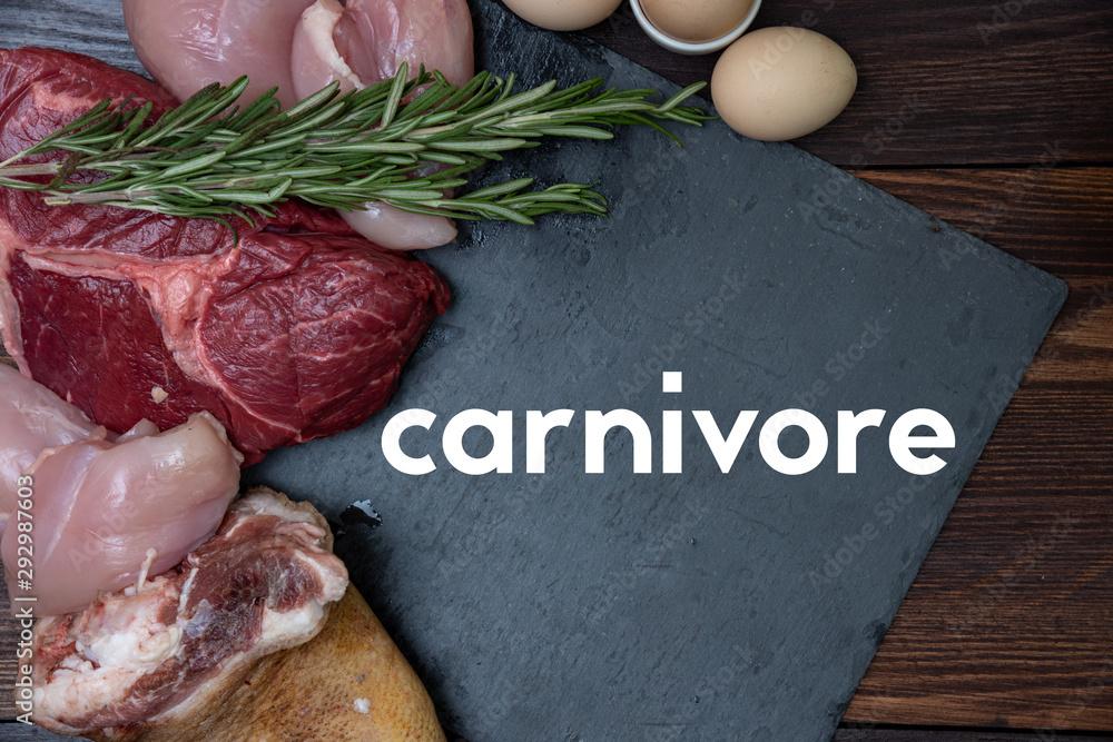 Fototapeta carnivore keto diet flat lay.