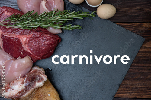 Canvas Print carnivore keto diet flat lay.