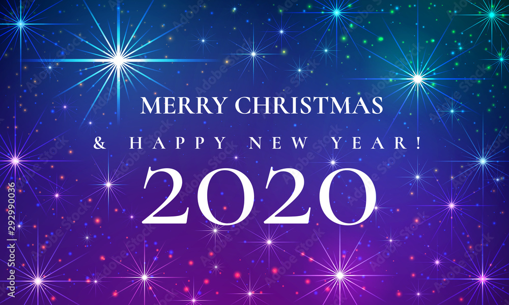 Fototapeta Merry Christmas and Happy New Year 2020 beautiful fairytale greeting card