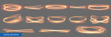 Fire Light Circles And Ring Trails, Vector Sparkling Gold Glitter Glow Flare Effect. Abstract Fire Circles, Sparkling Magic Swirls And Energy Light Spiral Spin Twirls