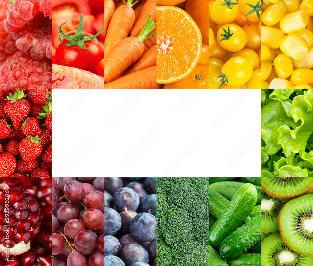 Fototapety, obrazy: Frame of color fruits and vegetables