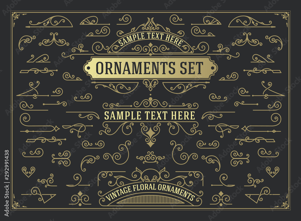 Fototapety, obrazy: Antique set of swirls and scrolls design elements. Flourishes set for retro design, greeting cards, invitations, weddings designs and other. Vector set.