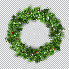 Christmas Wreath On Transparen...
