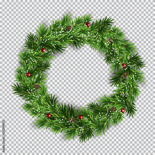 Fototapeta Christmas wreath on transparent background. Vector Illustration obraz