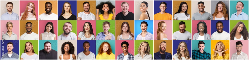 Fototapeta Collage of smiling and happy multiethnic people