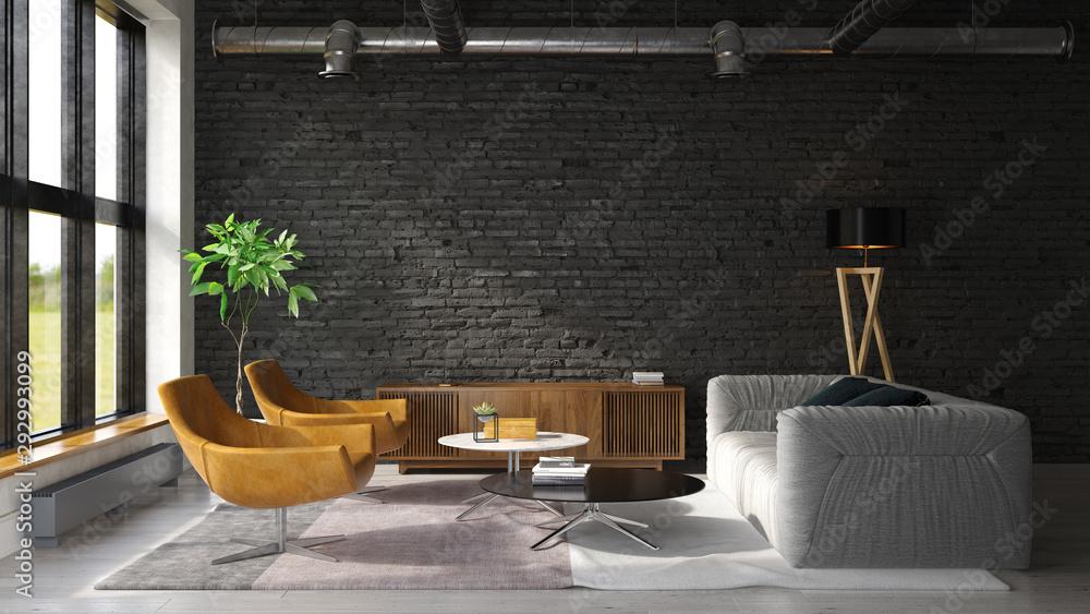 Fototapeta Interior of modern living room 3D rendering