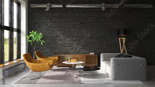 Cuadros en Lienzo Interior of modern living room 3D rendering