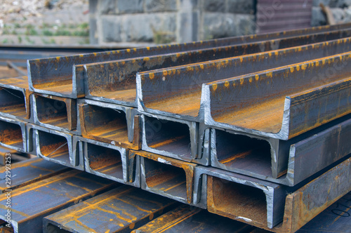 Steel channel on a construction site Canvas Print