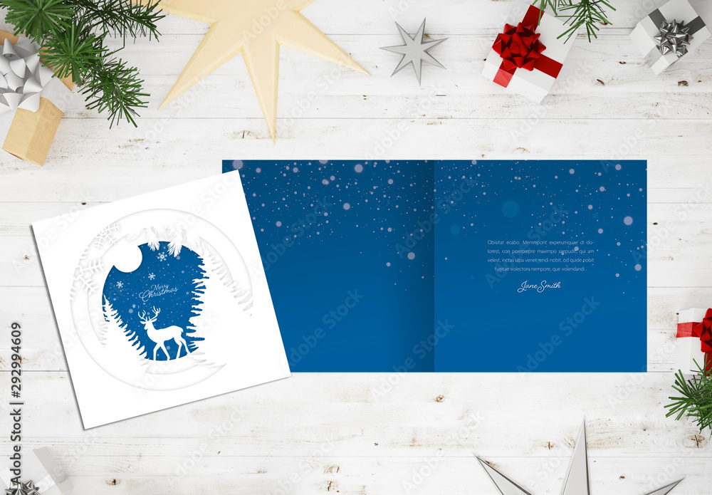 Fototapeta Winter Holiday Card Layout with Paper Cutout Illustration Elements