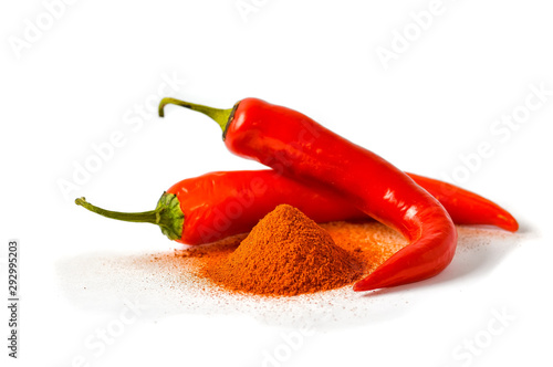 Red hot chili peppers on a white background. фототапет