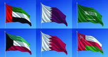 Vector Waving Flags Of Gulf Arabic Countries Or GCC (Gulf Cooperation Council): UAE, Qatar, Saudi Arabia, Kuwait, Bahrain And Oman