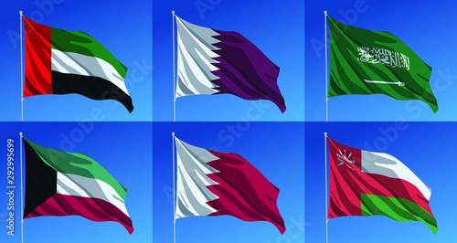 Photo Vector waving flags of Gulf Arabic countries or GCC (Gulf Cooperation Council):