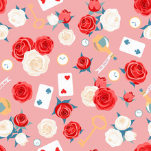 Red Roses And White Roses, Card, Key And Clock On Pink Background. Seamless Pattern. Alice In Wonderland Background For Fabric, Wrapping, Wallpaper. Decorative Print. Vector Illustration