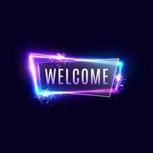 Welcome Neon Sign On Dark Blue...