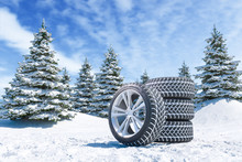 Snow Tires On Winter Landscape...