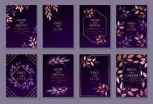 Set Of Luxury Floral Wedding Invitation Design Or Greeting Card Templates With Rose Gold Branches And Leaves On A Purple Background.