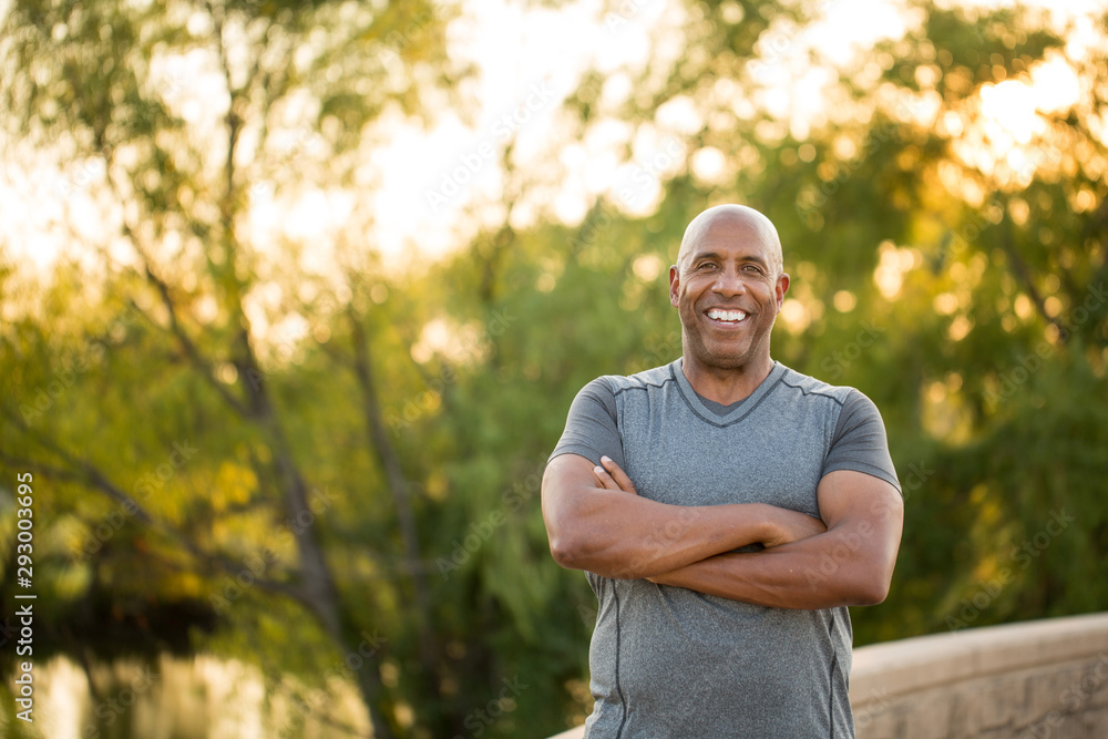 Fototapety, obrazy: Portrait of a fit mature African American man