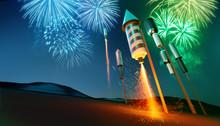 Firework Rockets Launching Int...