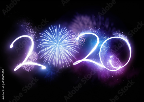 Photo The year 2020 displayed with fireworks and strobes