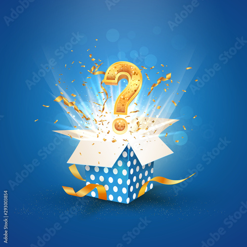 Photo Open textured blue box with question sign and confetti explosion inside and on blue background