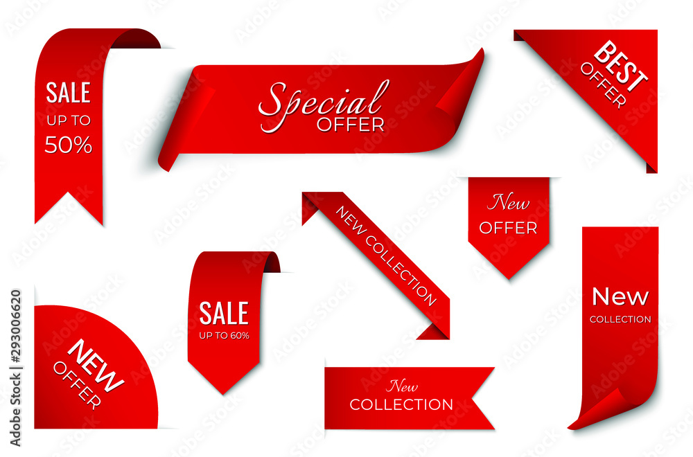 Fototapeta set of red sale ribbon banner. label design. isolated vector tag images