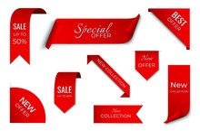Set Of Red Sale Ribbon Banner....