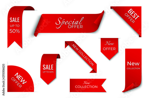 Obraz set of red sale ribbon banner. label design. isolated vector tag images - fototapety do salonu
