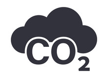 CO2 Cloud Symbol Grey Flat Icon