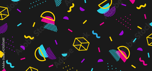 Background in the style of the 80s with multicolored geometric shapes on the black background Canvas Print