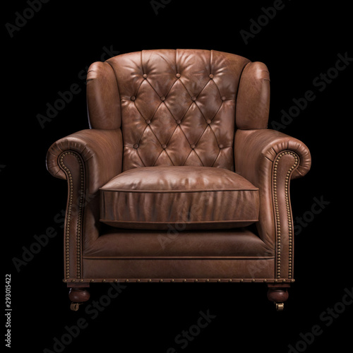 Fotografie, Obraz  Brown leather chair on black background. Front view. 3d Rendering