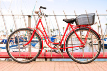 Vintage Classic Red Bicycle Wi...
