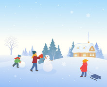 Snow Covered Winter Village With Kids Making A Snowman