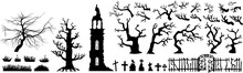 Halloween Scareful Trees, Spooky Branches, Old Church, Graveyard Objects, Fence And Gates. Black And Whte Simple Hand Drawn Vector Silhouettes Set.