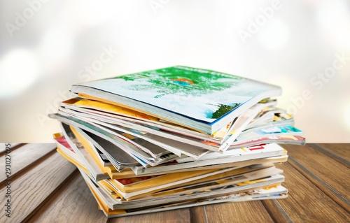 Fotografie, Obraz Stack of magazines on white background